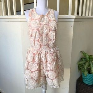 ASOS peach pink floral embroidered romper Sz 8